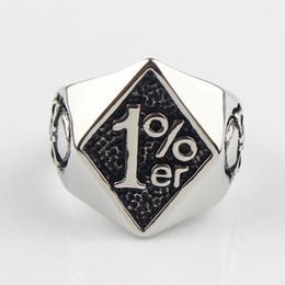 Wholesale Silver Men er One Percenter Outlaw Biker Motorcycle Club Skull Stainless Steel Ring