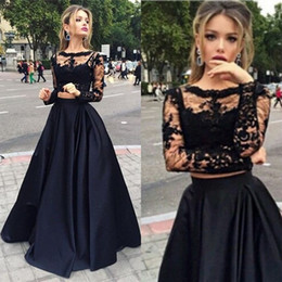 2016 Fabulous Two Piece Prom Dresses A Line Black Illusion Crop Top Sheer Lace Long Sleeves Full Length Evening Gowns Custom Made