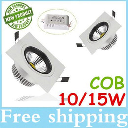 Brand New COB 10W 15W Led Square Downlights Recessed Lights 600 1200 Lumens Warm Cool White Dimmable Led Fixture Ceiling Lights 110-240V