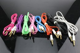 Wholesale 3 mm to mm Colorful flat type Car Aux audio Cable Extended Audio Auxiliary Cable Headphone Stereo Cable for iphone S for Samsung