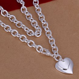 Factory price 925 sterling silver plated double heart pendant necklace fashion jewelry Valentine's Day gift Top quality free shipping