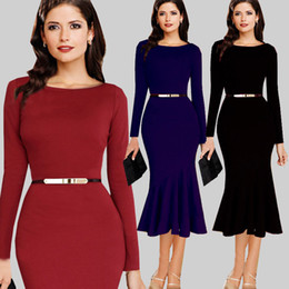 New Winter& Autumn Long Sleeve formal dress Vintage office dress Women work Rockabilly Bodycon Shift Wiggle Pencil Midi Dress With Belt