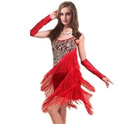 Wholesale 2016 Fashion Women Latin Dress Dresses Latin Dance Costume Stage Wear Woman Dance Wear Dancewear Sequin Fringe Tassel