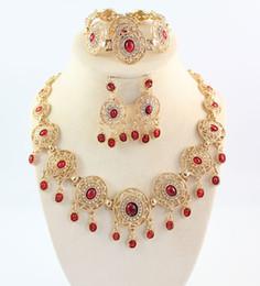 African Jewelry Sets 18k cristal plateado del oro del anillo de la pulsera de la turquesa de los pendientes del collar negro y rojo Elija Collares desde pendientes de turquesa juego de anillos fabricantes