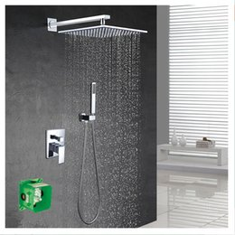 Wholesale 2016 New Pattern wall mounted Shower Set With quot abs plastic Rain Shower brass hand shower Embedded box set hanldes valve