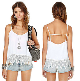 Wholesale-2015 Summer New Sexy Women Strap Tank Tops Lace Solid Backless Vest Ladies Top Womens Tanks Plus Size White Top Crodded
