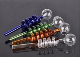 Wholesale glass pipes Curved Glass Oil Burners Pipes with Different Colored Balancer Water Pipe smoking pipes