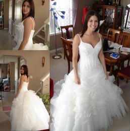 2019 New Ball Gown Wedding Dresses Spaghetti Staps Beaded Lace Satin Ruffles Organza Sweep Train Bridal Gowns Custom Made W999
