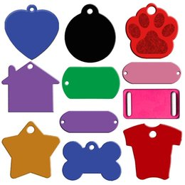 Wholesale 20pcs Aluminum Pet ID Tag Custom Engraved Dog Cat Personalized Name Phone No Tag Bone Heart Round Round Foot Shapes Mixed