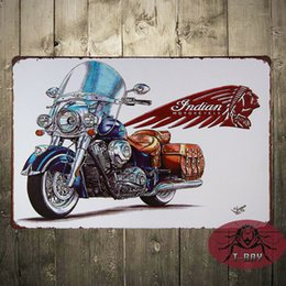 Wholesale INDIAN MOTORCYCLE METAL SIGN ENAMELLED FINISH AMERICAN RETRO CLASSIC