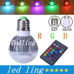 Bombilla RGB 2015 de la nueva llegada LED RGB E27 GU10 9W AC85-265V RGB LED de la lámpara con control remoto de múltiples colores LED RGB + CE ROHS desde focos de colores fabricantes