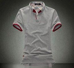 Wholesale Burderryed men tee shirt solid short sleeve t shirt Brand Clothing Asian Size