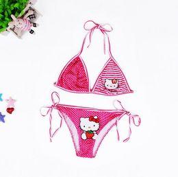 New 2016 Summer Children Swimming Suit Cute Cartoon Animal Cat Pattern Bikini Swimsuit Wave Kids Girls Swimsuit