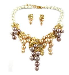 gold flower pearl lady;s necklace (xysppfh)