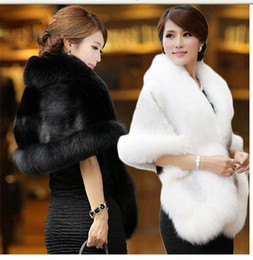 Wholesale High Quality Faux Fur Wedding Wraps Elegant High Neck White Black Bridal Shawls Shrugs Wedding Accessories