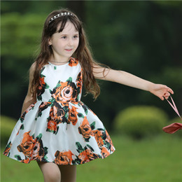 Pettigirl Fashion Spring White Girls Flower Dress With Print Floral Children Woven DressES For Kids ClothING (Only Dress) GD80727-1L