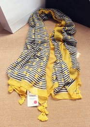 2017 foulards en coton de marque de gros Gros-2015 Nouvelle marque za bande jaune dot print 100% écharpe de coton avec gland pour foulard de soie femmes design de haute qualité châle d'été peu coûteux foulards en coton de marque de gros
