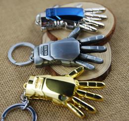 Wholesale Large movie iron man energy hand model key buckle keychains pendant Halloween Carnival gift key buckle Car Cartoon Keychains