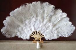 """White Marabou & Ostrich Fether Fan Large Feather Fan Burlesque Fan Fold Out Hand Fan 21"""" x 38"""""""
