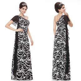 HE09309BK Ever Pretty Sexy Formal Gown one Shoulder Paisley Long Evening Dress