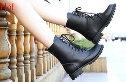 Wholesale Fashion Spring Boots Ladies Woman Motorcycle Boots Vintage Combat Army Punk Goth Ankle Shoes Women Biker Flat PU Leather Short Boots _38