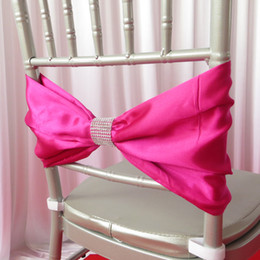 100PCS Free Shipping New Design Satin or Taffeta Chair Band With Plastic Diamond Buckle for Wedding Decoration