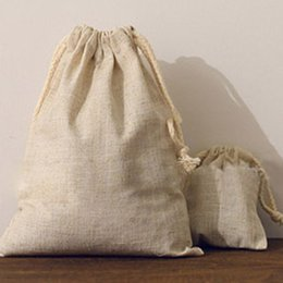 Wholesale Cotton Linen Drawstring Bags cmx12cm quot x4 quot Vintage Jewelry Gift Pouches Fabric Candy Bag Rustic Wedding Favor Holders
