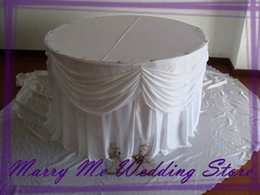 Wholesale 2 ft x WHITE Silk Wedding Table Skirting with Undetachable Swag Table Skirts with Velcro Clips