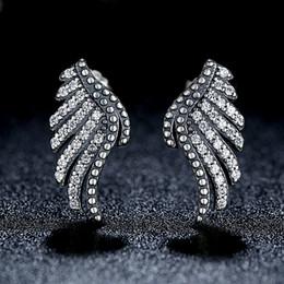 Wholesale Majestic Feathers Phoenix Wing Stud Earrings in Genuine Sterling Silver with Clear CZ Elegant Pandora Style Earrings for Women ER024