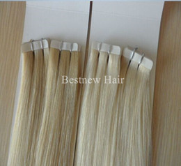 "SUPER QUALITY Tape In Hair Extensions Indian Remy PU Hair Extension #60 #613 100g 40pcs 16"" 18"" 20"" 22"" 24"" Tape Hair Extensions"