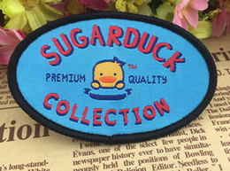Wholesale 7 x cm Yellow duck kids badge Sew on Woven label biker patches hero Animated embroidered coat accessories