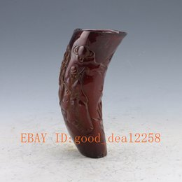 Wholesale Chinese Old Antique Ox Horn Hand carved Old man Pine tree Cup