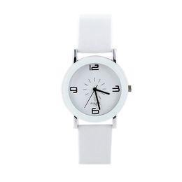 White PU Leather Analog Acrylic Quartz Wrist Watch New Fashion&Casual Designer For Men and Women