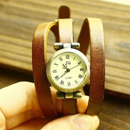 Wholesale-Free shipping wholesale 2015 vintage leather watches for women and students 3 ring hot dropship