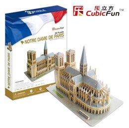 Wholesale Special price authentic Cubicfun D puzzle paper model MC054H Notre Dame de Paris hardcover edition toy