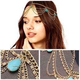 Wholesale 2015 New Arrival Boho Gold Turquoise Tassel Hairbands Hair Wear Headband Headpiece For Women Tomtop Jewelry T2041 J0087
