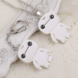 Wholesale Key Ring Links - 2016 Newest Key Ring Necklaces Fashion Super Marines Baymax Spot White Fat White Doll Key Chain Pendant Alloy Drip Necklace ZJ-0903244
