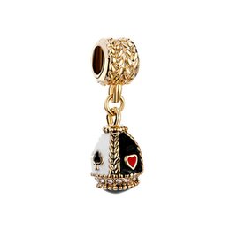 Faberge egg pendant playing cards dangle Easter Day charm European spacer bead fit Pandora Chamilia Biagi charm bracelet