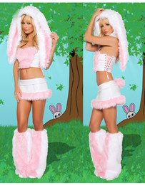 Mignon cosplay fille en Ligne-En stock Furry Fasching mignonne fille blanc lapin Frisky Halloween Costume Costume ensemble robe de fantaisie pour femme Sexy Halloween Costume ensemble complet