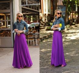 New Fashion Purple Chiffon Ruffles Long Skirts For Woman 2015 a Line Floor Length Adult Skirts Custom Made Girls Formal Party Dresses