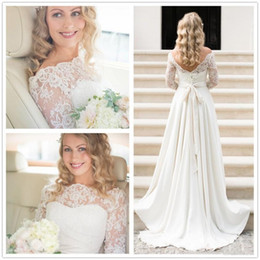 2017 Bateau Neck Romantic Lace Wedding Dresses Backless Sheer Long Sleeves Summer Spring Elegant Cheap Garden Bridal Gowns with Bow