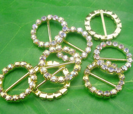 Hot 50pcs Round Crystal Rhinestone Ribbon Gold Buckles Wedding Invitations 20mm