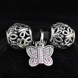 S925 Sterling Silver Charms and Murano Glass Bead Set with Charm Box Fits European Pandora Jewelry Charm Bracelets-Openwork Butterfly
