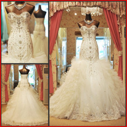 Gorgeous Charming Mermaid Sweetheart Rhinestone Wedding Dresses Real Pictures Lace Ruffles Organza Most Modest Expensive Wedding Gowns
