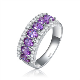 Orsa Jewerly Famous Brand Ladies 925 Sterling Silver Amethyst Zircon Rings with Platinum Plated Woman Ring OR43