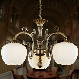 Wholesale European American Rural pastoral Living Room Chandelier Lamp Iron Retro Antique Copper brass color Premium vintage chandelier