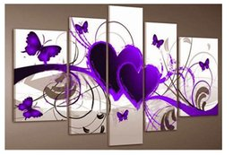 Wholesale 5 piece group wall art Purple And Red Heart Love Butterfly Pure hand painted Oil painting On Canvas Art For Home D