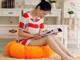 Wholesale Pumpkin Cushion Hallowmas Decoration Orange Short Plush Foot Stool Beanbag Chair For Kids Gift