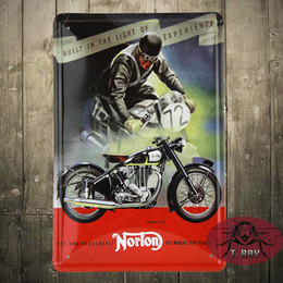 Wholesale Power Motorcycle UK Norton Built Wall Poster Metal Tin Signs Retro Decor