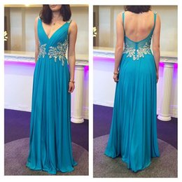 High Quality A-Line V Neck Chiffon Floor Length Evening Dress Backless Beaded Evening Dress Party Gowns